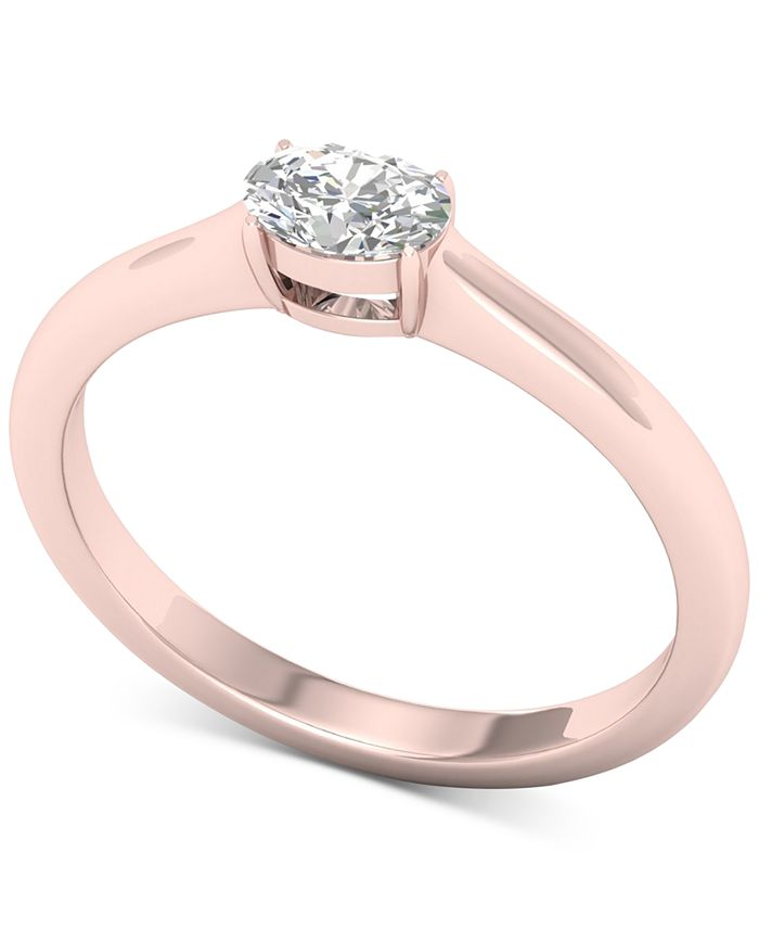 Macy's - Diamond Oval Solitaire Ring (1/3 ct. t.w.) in 14k Rose Gold