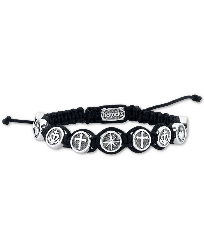 He Rocks - Black Cord Bracelet featuring Star, Fire Heart, Anchor, and Cross In Stainless Steel, 8.5""