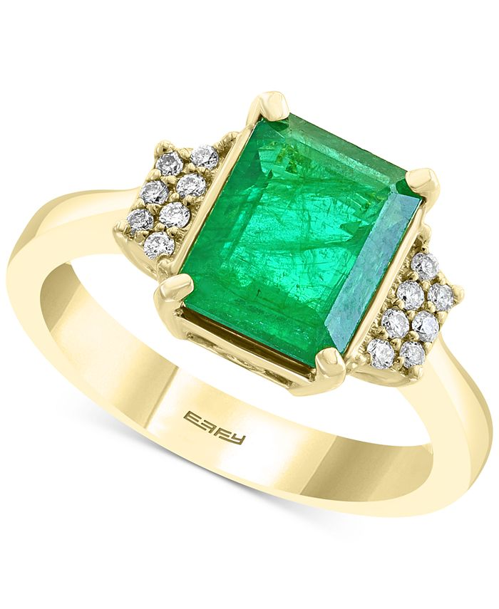 EFFY Collection - Emerald (2-1/5 ct. t.w.) & Diamond (1/10 ct. t.w.) Statement Ring in 14k Gold