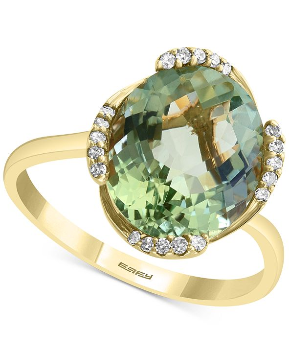 EFFY Collection EFFY® Green Quartz (4-1/3 ct. t.w.) & Diamond (1/10 ct. t.w.) Statement Ring in 14k Gold