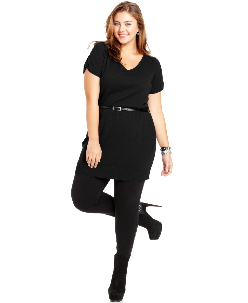 Extra Touch Plus Size Dress, Cap Sleeve Lace Trim Belted Sweater Dress