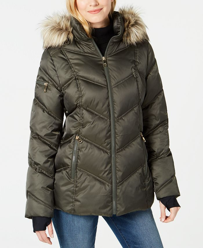 Nautica - Faux-Fur-Trim Hooded Puffer Coat