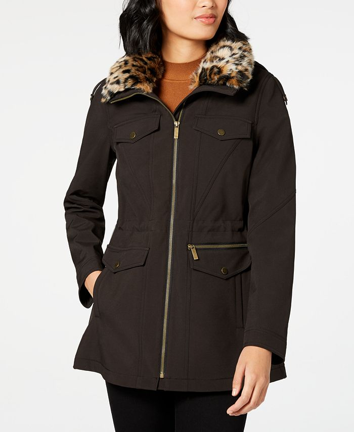 French Connection - Faux-Fur-Trim Hooded Raincoat