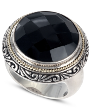 Balissima by Effy Onyx Circle Ring (12-9/10 ct. t.w.) in Sterling Silver and 18k Gold