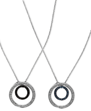Diversa by EFFY Collection 14k White Gold Necklace, White, Blue and Black Diamond Reversible Pendant (1/3 ct. t.w.)