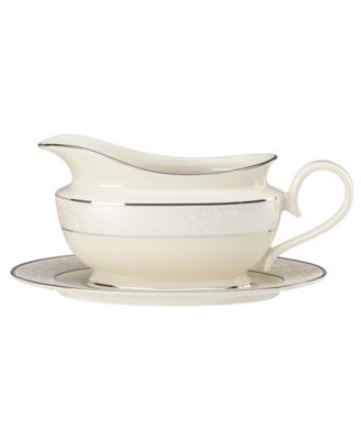 Lenox Pearl Innocence Gravy Boat and Stand