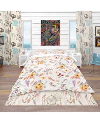 Designart 'Floral Pretty Pattern With Colorful Pastel Flowers' Bohemian and Eclectic Duvet Cover Set - Queen