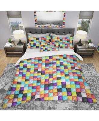 Designart 'Bright 3D Squares' Modern Duvet Cover Set - Twin