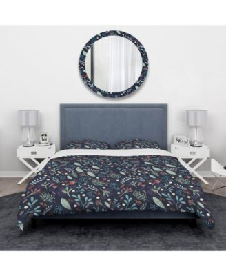 Designart 'Sparkling Forest Leaves On Dark Blue' Modern and Contemporary Duvet Cover Set - Twin