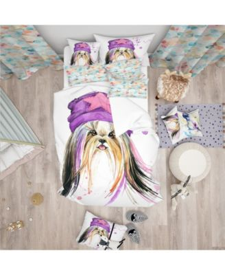 Designart 'Stylish Puppy With Purple Hat' Modern and Contemporary Duvet Cover Set - Queen