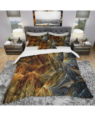 Designart 'Molten Gold Abstract' Modern and Contemporary Duvet Cover Set - Queen