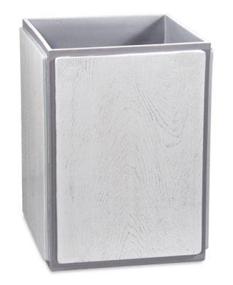 Grey Wood Wastebasket