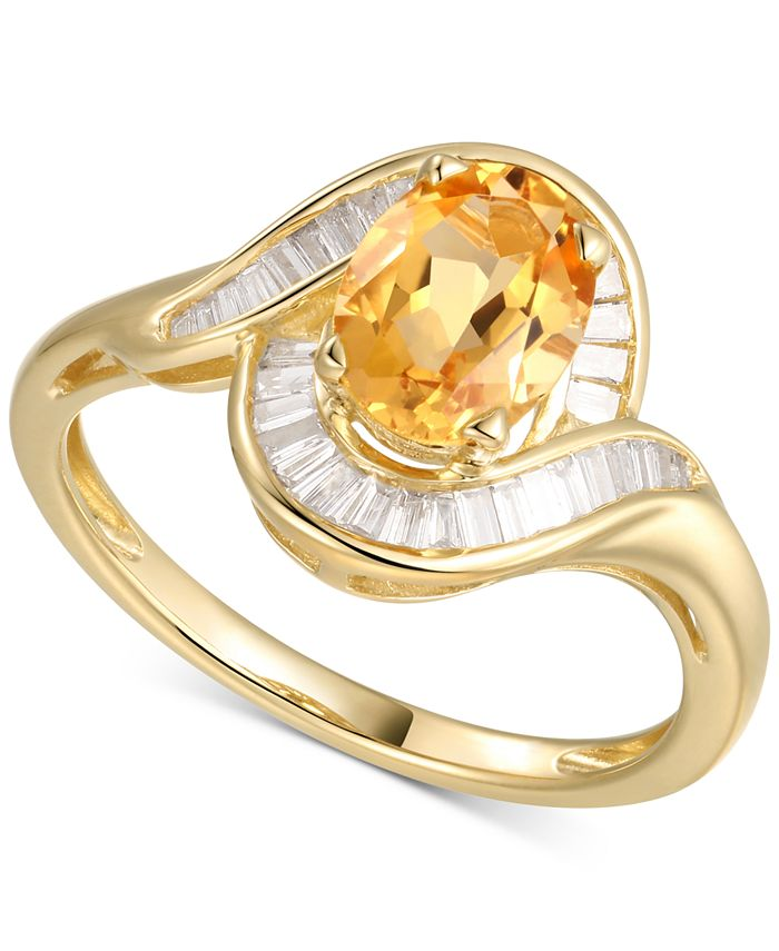 Macy's - Citrine (1-1/8 ct. t.w.) & Diamond (1/4 ct. t.w.) Ring in 14k Gold