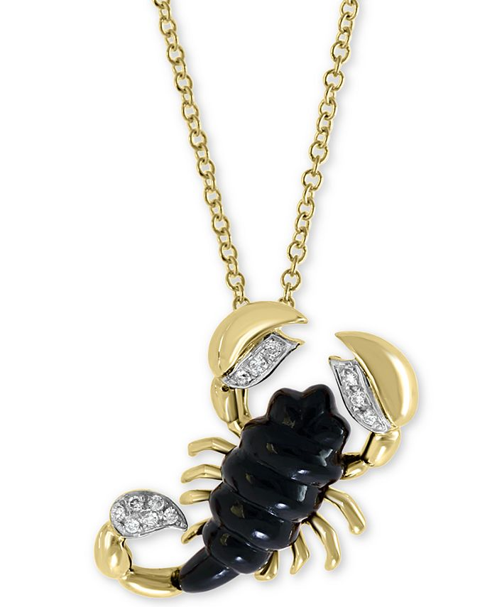 """EFFY Collection - Onyx (16 x 6mm) & Diamond Accent Scorpion 18"""" Pendant Necklace in 14k Gold"""