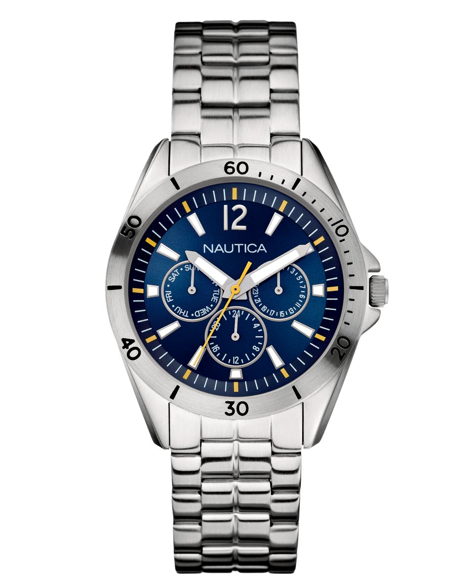 Nautica Watch, Mens Silver Tone Bracelet 40mm N13631G   Watches   Jewelry & Watches