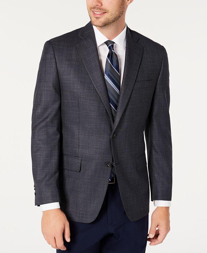 Michael Kors - Men's Classic-Fit Blue/Gray Houndstooth Sport Coat