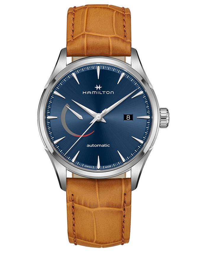 Hamilton - Men's Swiss Automatic Jazzmaster Brown Leather Strap Watch 42mm