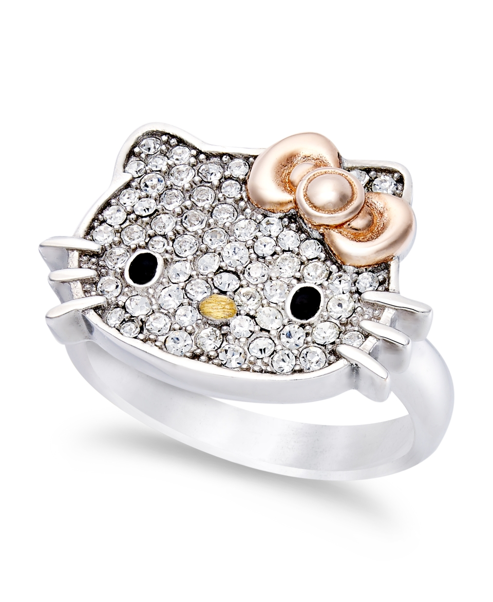 Hello Kitty Sterling Silver Ring, Pave Crystal Face Ring   Rings   Jewelry & Watches