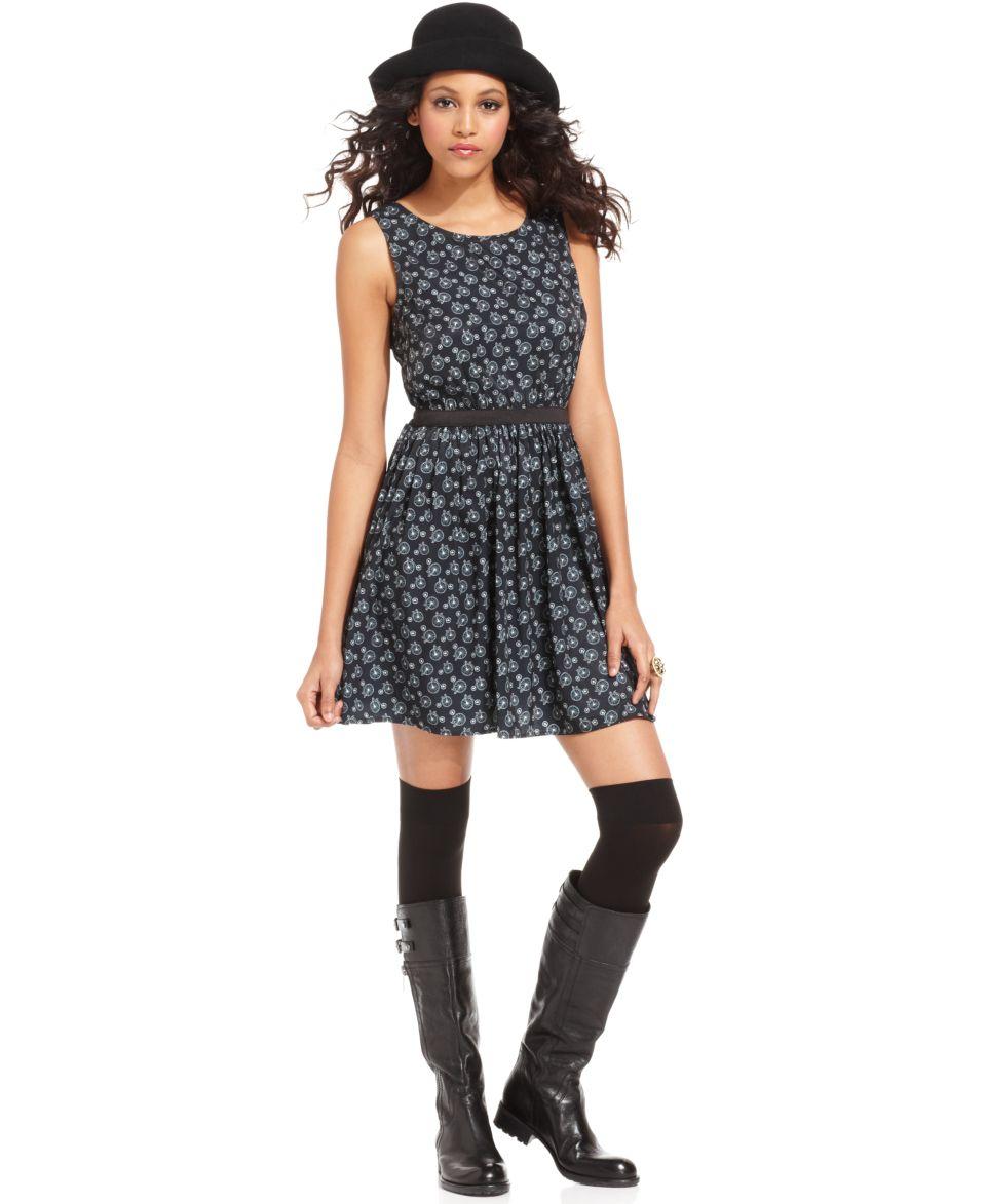 Bar III Dress, Sleeveless Scoop Neck Cutout Printed A Line