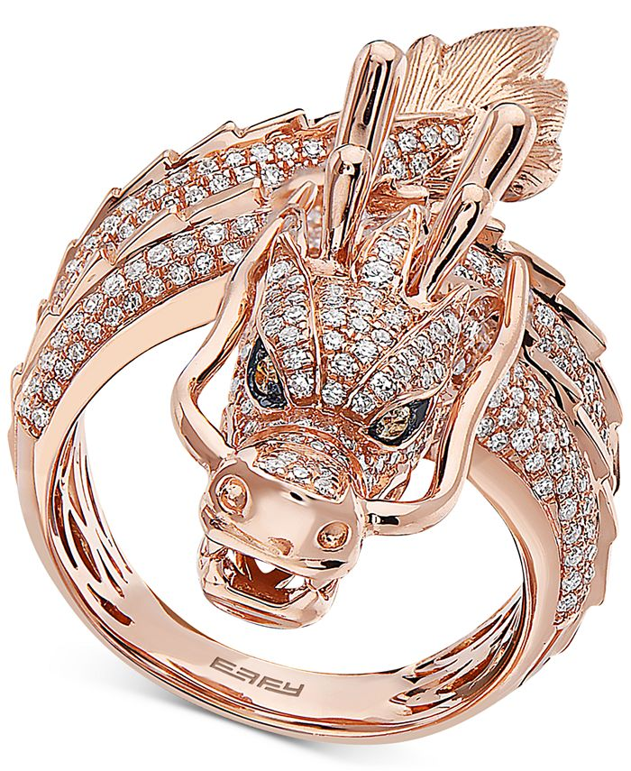 EFFY Collection - Diamond (1-1/3 ct. t.w.) Dragon Statement Ring in 14k Rose Gold