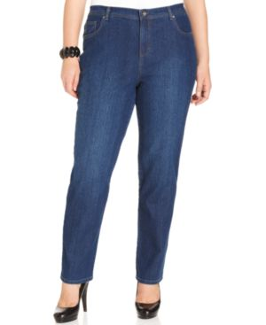 Style & Co. Plus Size Tummy-Control Straight Leg Jeans, Aged Indigo Wash