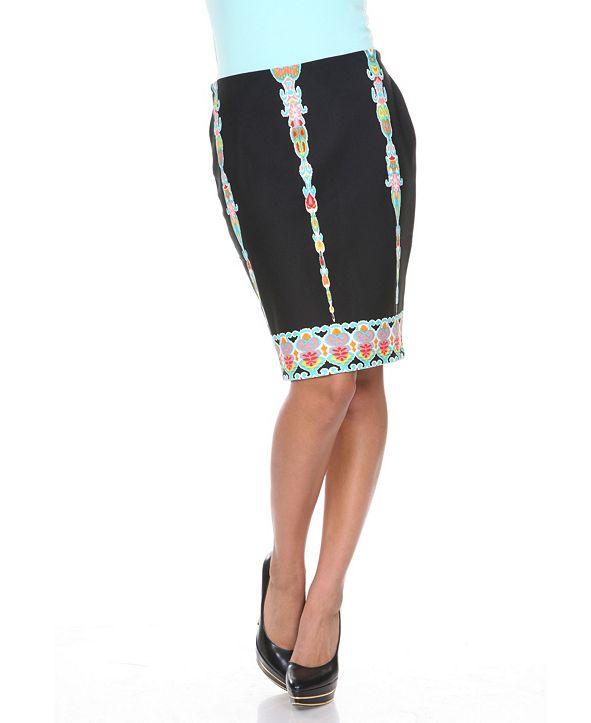 White Mark Pretty and Proper Multi-Colored Pattern Pencil Skirt