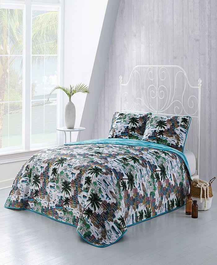 Geneva Home Fashion - Havana 3pc Queen Tropical Reversible Quilt with Shams