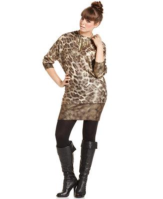 Baby Phat Plus Size Dress Three Quarter Sleeve Leopard