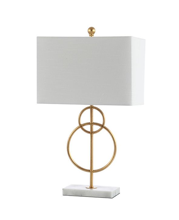 "JONATHAN Y Haines 26"" Modern Circle Marble/Metal LED Table Lamp"