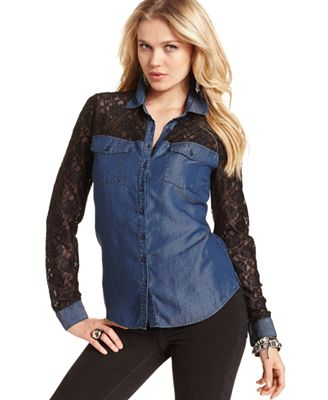 Guess Top Long Sleeve Lace Denim Shirt Tops Women