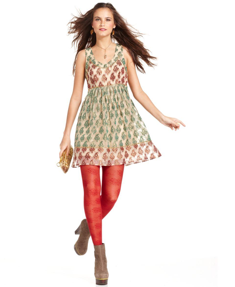 Free People Dress, Sleeveless Scoop Neck Metallic Jacquard Studded A Line   Dresses   Women