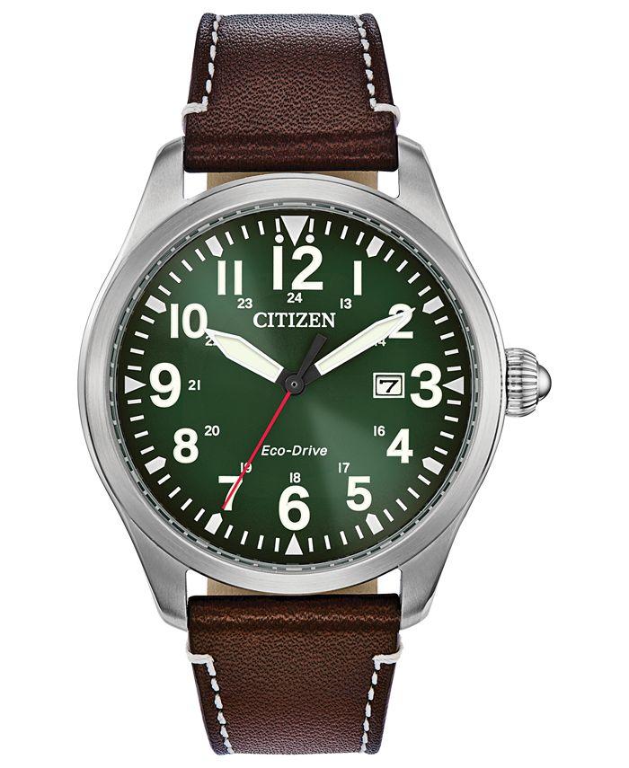 Citizen - Men's Chandler Brown Leather Strap Watch 42mm
