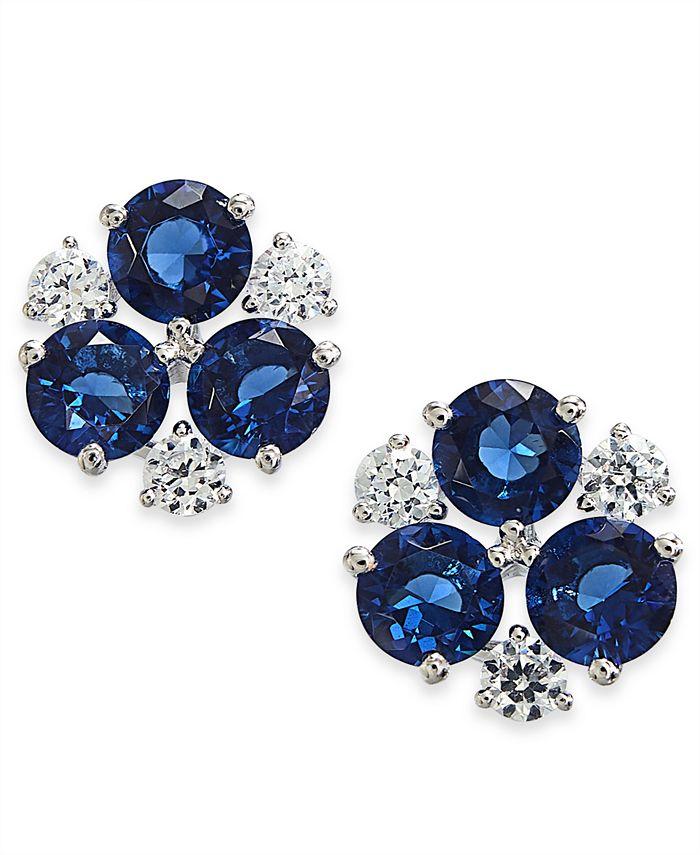 Eliot Danori - Silver-Tone Cubic Zirconia Cluster Stud Earrings