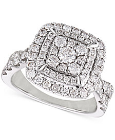 Diamond Cluster Cushion Halo Engagement Ring (1-1/2 ct. t.w.) in 14k White Gold