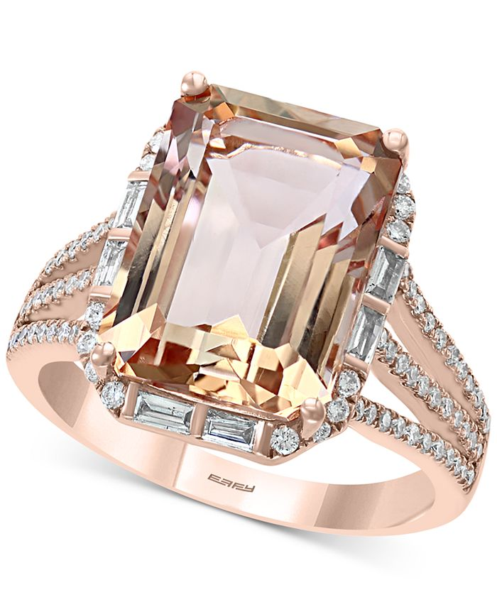 EFFY Collection - Morganite (7-1/10 ct. t.w.) & Diamond (1/3 ct. t.w.) Ring in 14k Rose Gold