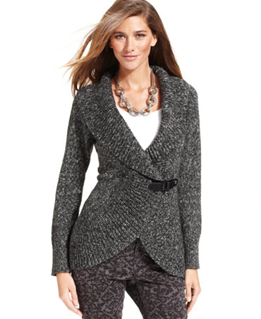 Style&co. Sweater, Long-Sleeve Marled-Knit Cardigan