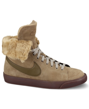 Nike Women's Shoes, Blazer High Roll LTH Faux-Fur Sneakers Women's Shoes