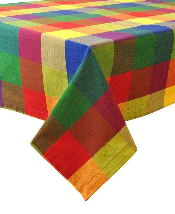 "Design Imports Indian Summer Check Tablecloth 60"" x 84"""