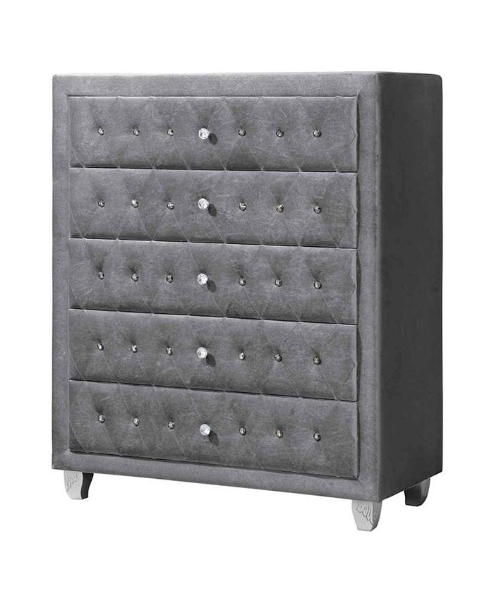 Macy's - Deanna 5-drawer Chest Grey and Metallic