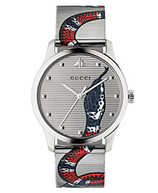 Gucci Unisex Swiss G-Timeless Snake Print Stainless Steel Mesh Bracelet Watch 38mm