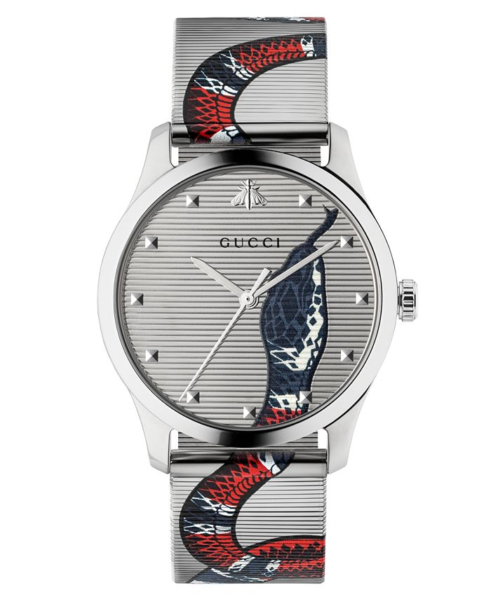 Gucci - Unisex Swiss G-Timeless Snake Print Stainless Steel Mesh Bracelet Watch 38mm