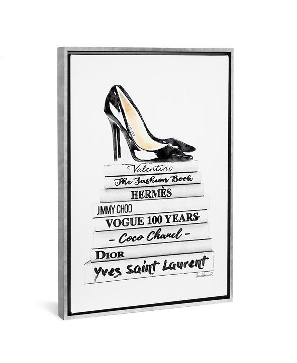 "iCanvas White Fashion Books with Black Heels by Amanda Greenwood Gallery-Wrapped Canvas Print - 40"" x 26"" x 0.75"""