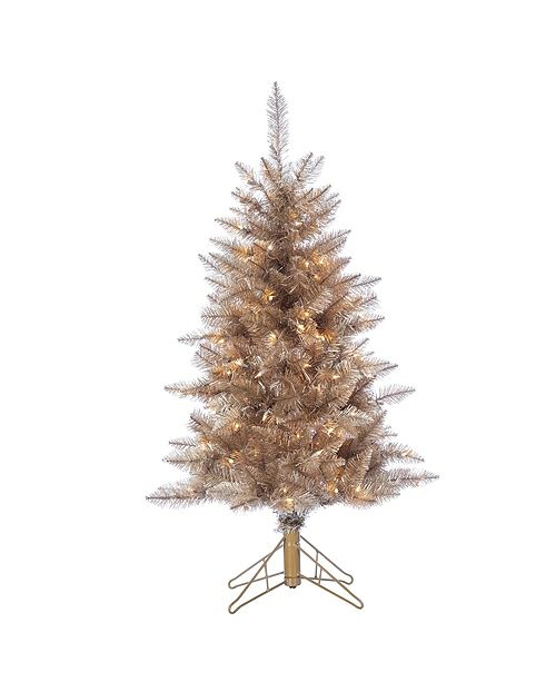 Sterling 4 Foot High Tuscany Tinsel Pre Lit Tree In Rose Gold With Clear White Lights Reviews Shop All Holiday Home Macy S
