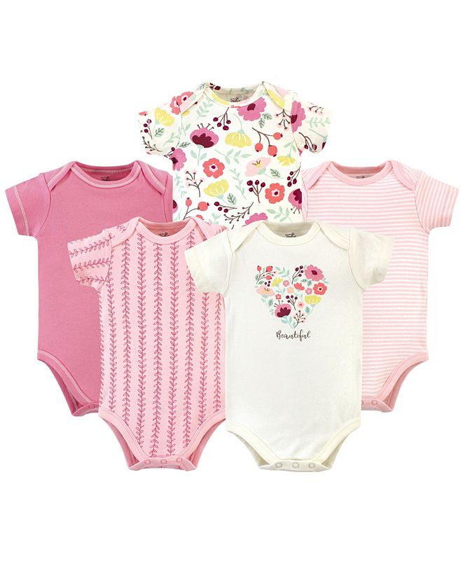 Touched by Nature Organic Cotton Bodysuit, 5 Pack, Botanical, 9-12 Months