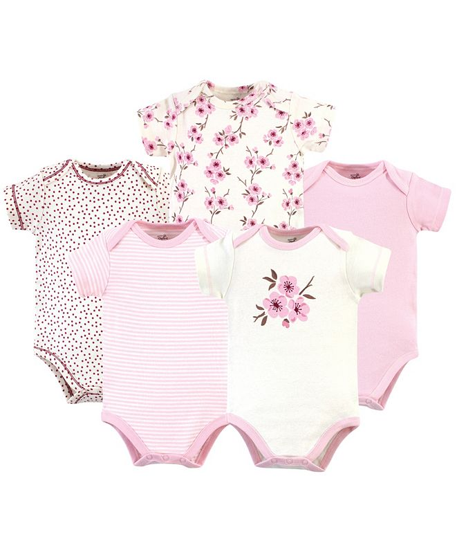 Touched by Nature Organic Cotton Bodysuit, 5 Pack, Cherry Blossom, 6-9 Months