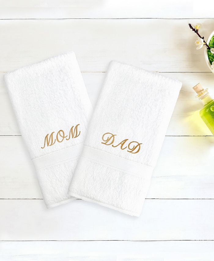 "Linum Home - Terry 2-Pack of Hand Towels Embroidered with ""Mom/Dad"""