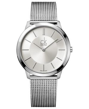 Calvin Klein Watch, Men's Swiss Minimal Stainless Steel Mesh Bracelet 40mm K3M21126