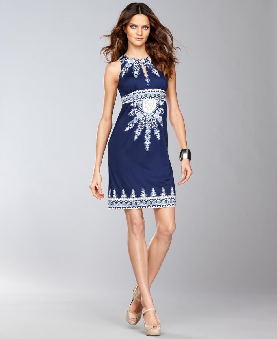 INC International Concepts Dress, Sleeveless Printed Empire Waist