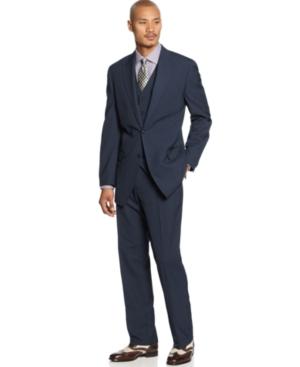 Sean John Suit Navy Pinstripe Vested