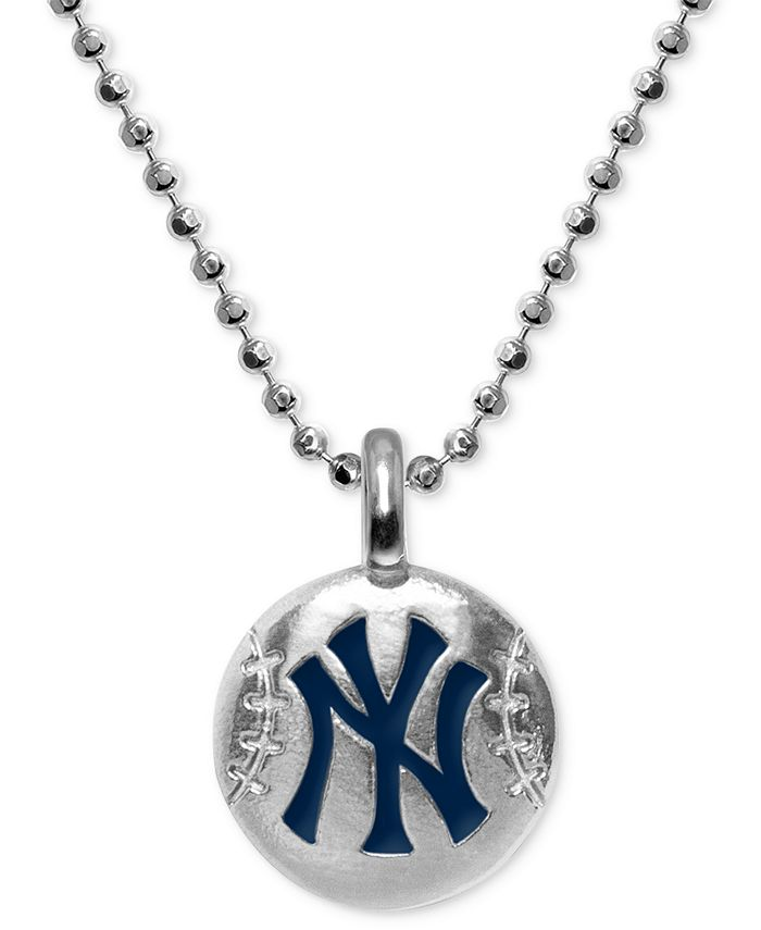 "Alex Woo - New York Yankees 16"" Pendant Necklace in Sterling Silver"